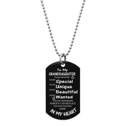 "Granddaughter Braver Stronger Smarter Love Text Engraved Dog Tag w/ Dot Ball Chain Necklace 24"" - Handmad"