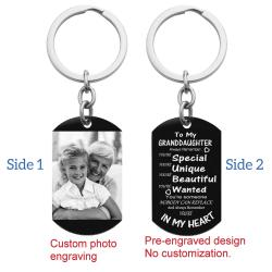 Granddaughter Braver Stronger Smarter Love Personalized Photo/text Engraving Custom Dog Tag Key Chain - Handmade