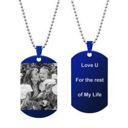 Queenberry Photo Text Message Laser Engraving Personalized Pendant Dog Tag Stainless Steel Necklace...