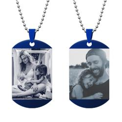 Queenberry 2 Sides Photo Laser Engraving Personalized Pendant Dog Tag Stainless Steel Necklace Ball...