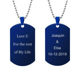 Queenberry 2 Sides Text Message Laser Engraving Personalized Pendant Dog Tag Stainless Steel...
