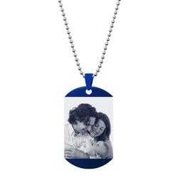 "Personalized One Side Photo Engraving Custom Dog Tag w/ Dot Ball Chain Necklace 24"" - Handmade"