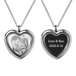 Engraved Personalized Photo + Text Heart Floating Crystal Chain Necklace Pendant Handmade Gift - Clear