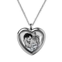 Engraved Personalized Photo Heart Floating Crystal Chain Necklace Pendant Handmade Gift - Clear