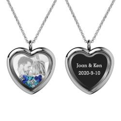 Engraved Personalized Photo + Text Heart Floating Crystal Chain Necklace Pendant Handmade Gift - Blue
