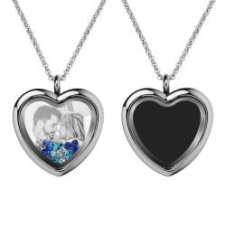 Engraved Personalized Photo Heart Floating Crystal Chain Necklace Pendant Handmade Gift - Blue
