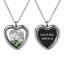Engraved Personalized Photo + Text Heart Floating Crystal Chain Necklace Pendant Handmade Gift - Green