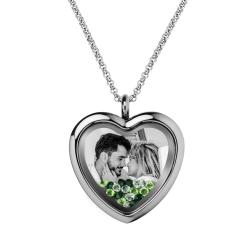 Engraved Personalized Photo Heart Floating Crystal Chain Necklace Pendant Handmade Gift - Green