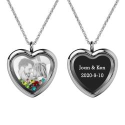 Engraved Personalized Photo + Text Heart Floating Crystal Chain Necklace Pendant Handmade Gift - Mixed Colors