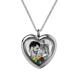 Engraved Personalized Photo Heart Floating Crystal Chain Necklace Pendant Handmade Gift - Mixed Colors