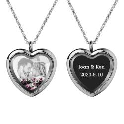 Engraved Personalized Photo + Text Heart Floating Crystal Chain Necklace Pendant Handmade Gift - Purple