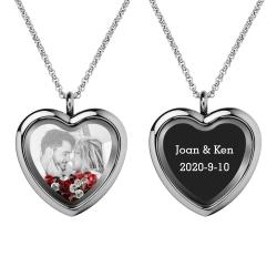 Engraved Personalized Photo + Text Heart Floating Crystal Chain Necklace Pendant Handmade Gift - Red