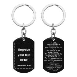 To My Daughter From Dad Text Engraving Custom Dog Tag Key Chain - Handmade