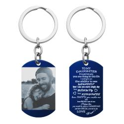 Blue - To My Daughter From Dad Photo Engraving Custom Dog Tag Key Chain - Handmade