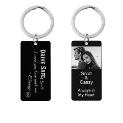 Queenberry Drive Safe Love Custom Engraved Personalized Photo Text Message Dog Tag Keychain