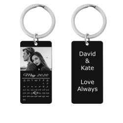 Custom Engraved Personalized Calendar Date + Photo Dog Tag Keychain