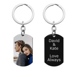 Full Color Photo Printing + Personalized Text Engraving Stainless Steel Custom Dog Tag Key Chain - Handmade- Black