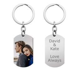 Full Color Uv Coated Photo Printing + Laser Engraved Personalized Message Engraving Stainless Steel Custom Dog Tag Key Chain - Handmade- Silver