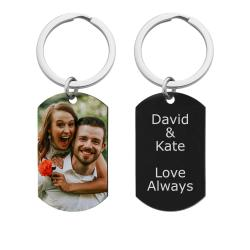 Full Color Photo Printing + Laser Engraved Personalized Message Stainless Steel Custom Dog Tag Key Chain - Handmade- Black