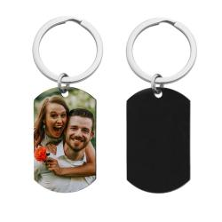 Full Color Photo Printing Stainless Steel Custom Dog Tag Key Chain - Handmade- Black