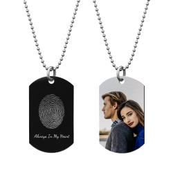 "Full Color Photo Printing + Oval Fingerprint Laser Engraved Personalized Message Stainless Steel Dog Tag w/ Dot Ball Chain Necklace 24"" - Handmade"