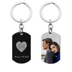 Full Color Photo Printing + Heart Fingerprint Laser Engraved Personalized Message Stainless Steel Custom Dog Tag Key Chain - Black