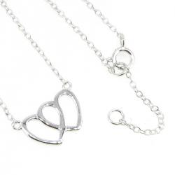 "Sterling Silver Double Heart Love Pendant Tag Link Chain Necklace Adjustable 16"" 17''"