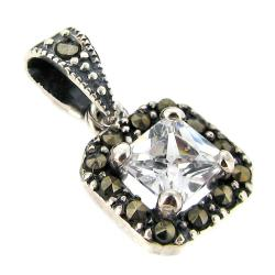 1x Sterling Silver Square Clear CZ Crystal Marcasite Dangle Charm Pendant