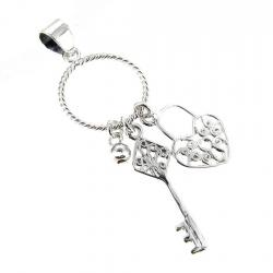 Sterling Silver Charm Carrier w/ Filigree Heart Love Lock Key Ring Dangle Pendant / for Lobster Charm