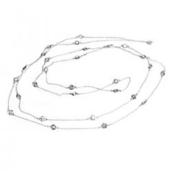 Sterling Silver Round Clear CZ Charm Link Rolo Cable Long Station Chain Necklace 54""