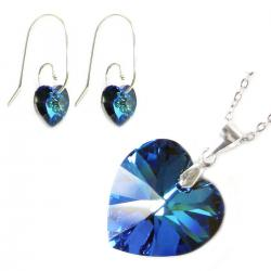 Sterling Silver Necklace Bermuda Blue Love Heart Pendant Earrings Made W/. Swarovski Elements Crystal