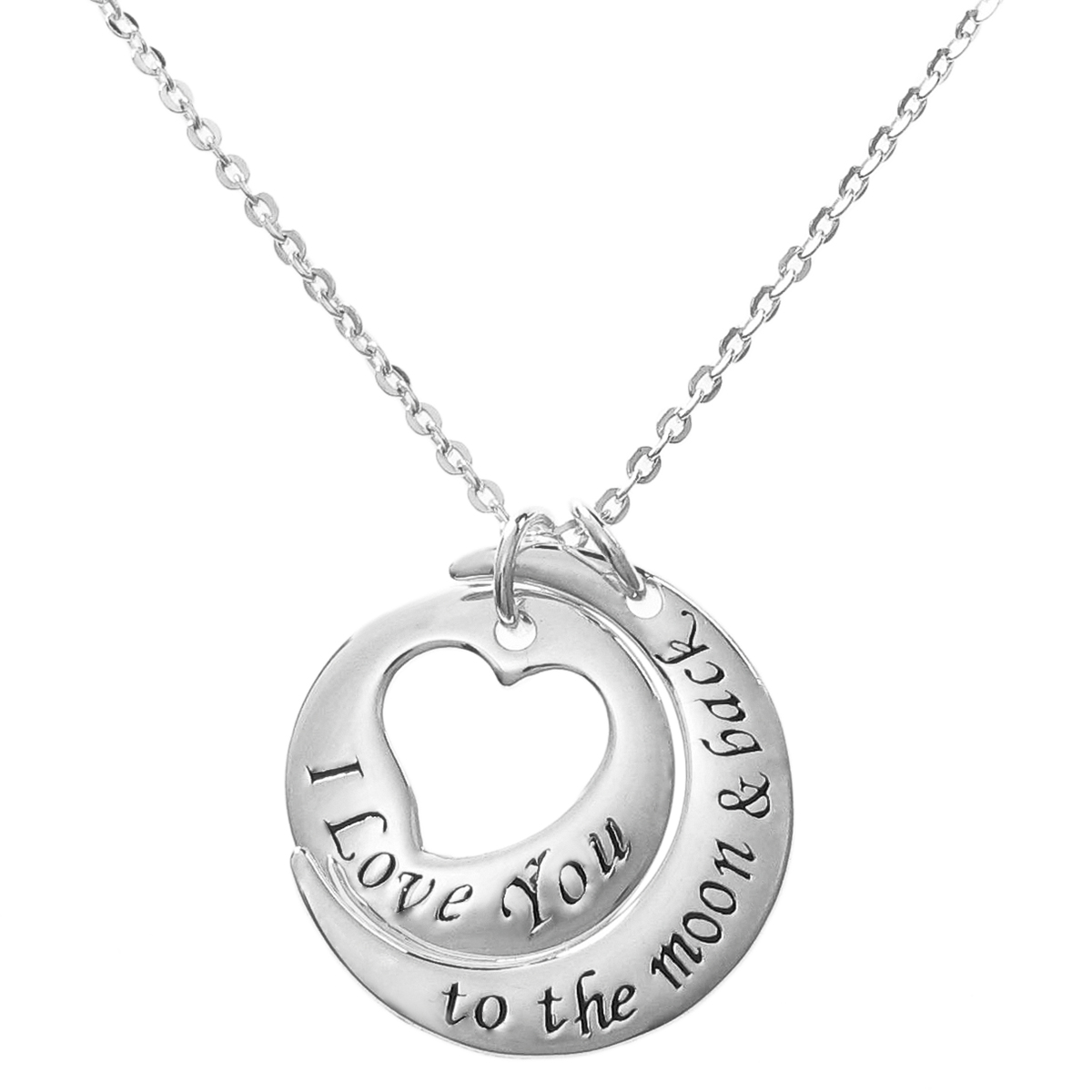 "925 Sterling Silver ""I Love You to the Moon & Back\"" Round Heart Dangle Charm Pendant Rolo Chain Necklace 16\""+2\"" Extender"
