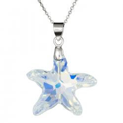 "Star Fish Clear AB Pendant w/ 925 Sterling Silver Adjustable Chain Necklace 16"" with 2"" Extender 18"" Using Swarovski Elements Crystal"