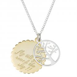 "Sterling Silver Family Tree Fly Till You Reach the Sky Pendant Chain Necklace 16"" + 2"" Extender"