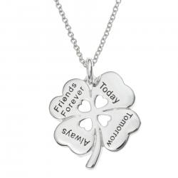 "Sterling Silver 4 Leaf Clover Friends Forever Today Tomorrow Always Heart Charm Pendant Chain Necklace 16""+2"" Extender"