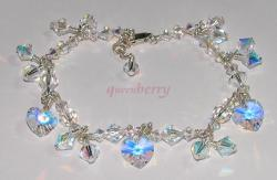 Clear AB Coated Swarovski Ankle Bracelet Bridal Wedding Crystals