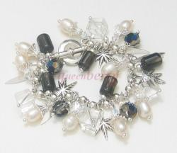 Swaroski Crystal, Quartz Crystal, Pearl, and Silver Maple Charms