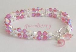 Shiny Pink Swarovski Crystal Bracelet with Silver Toggle Clasp