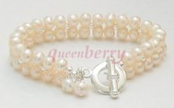 Fresh Water Pearl and Silver Toggle Bracelet