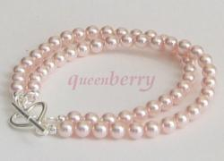 Double PINK SWAROVSKI Crystal PEARLS Silver Toggle Bracelet