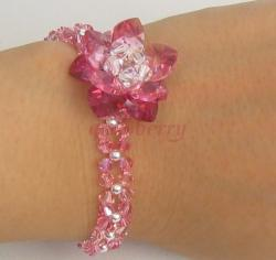 Swarovski Pink Crystal Flower Silver Bracelet - Unique Design