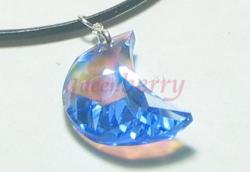 New Moon Pendant:  AB-Coated  Blue/Sapphire Swarovski Crystal