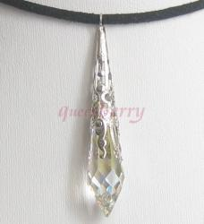 Large AB-Coated Clear Swarovski Teardrop Pendant