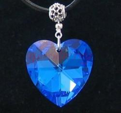 Large Sapphire Swarovski Crystal Heart Silver Pendant