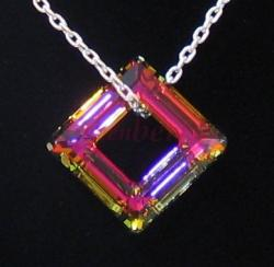 ~Metallic Purple~ Fancy Swarovski Square Pendant