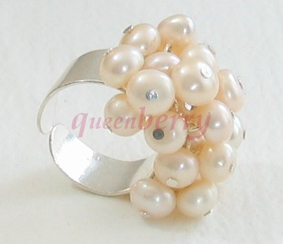 Fresh Water Pearl Silver Ring - Size Free